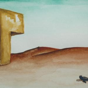 Spiaggia deserta con edificio instabile acquerello / watercolour cm 16x7